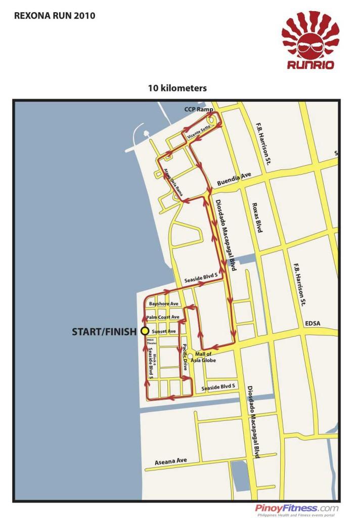 Rexona Run 2010 10K - Race Map