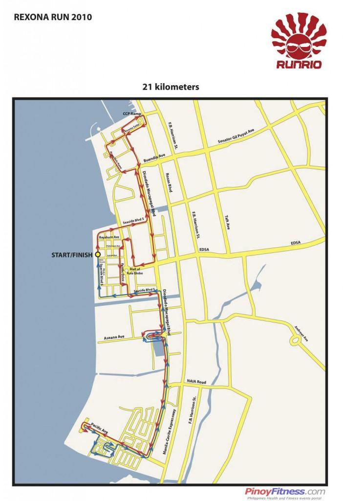 Rexona Run 21K - Race Map