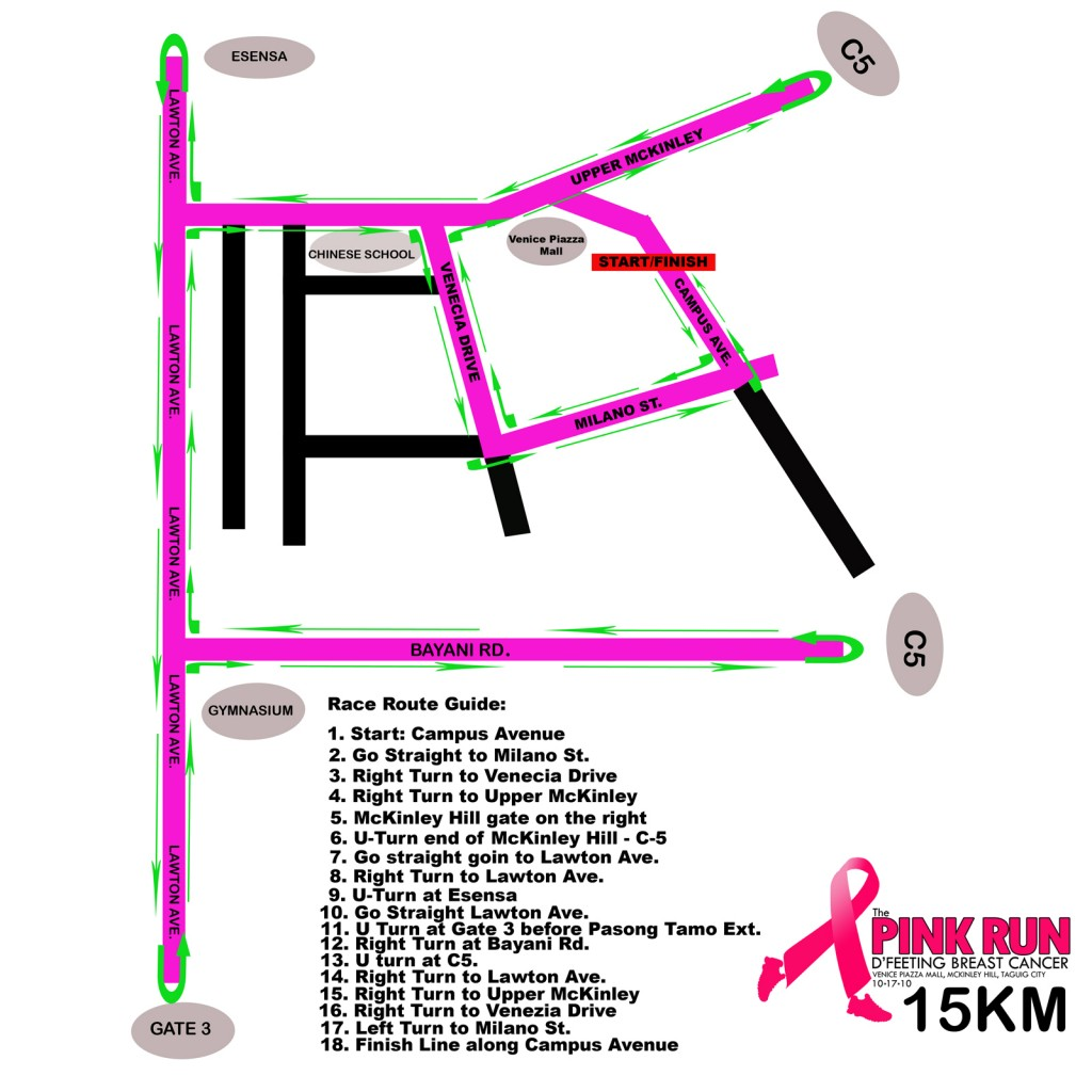 Pink Run 2010 - 15K Race Map