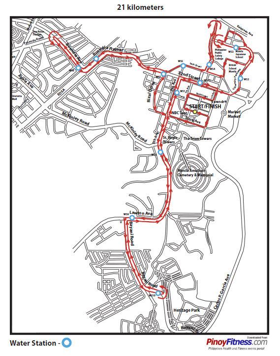 Run BGC Bonifacio Global City 2010 Race Route Map Pinoy Fitness