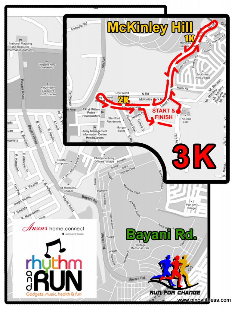 Ansons Fun Run 3K Race Map