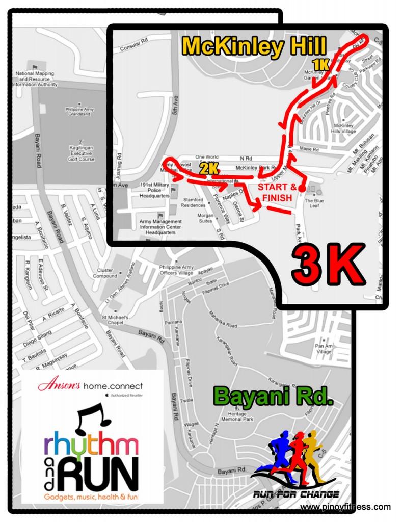 Ansons Fun Run 3K Race Map