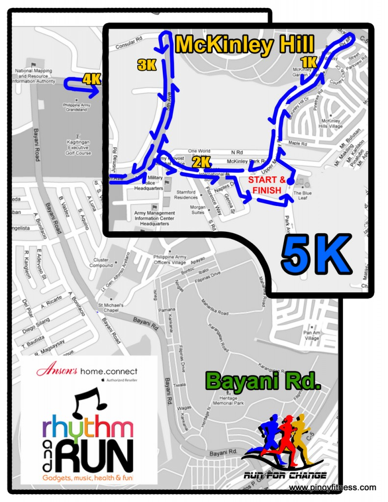 Ansons Fun Run 5K Route Map