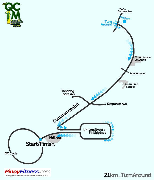 QCIM2 21K Turnaround Race Map