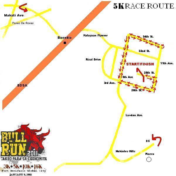 PSE BULL RUN 2011 MAP 5K