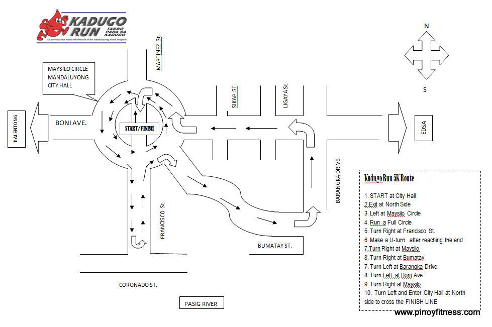 Kadugo Run 5K Route 2011 map