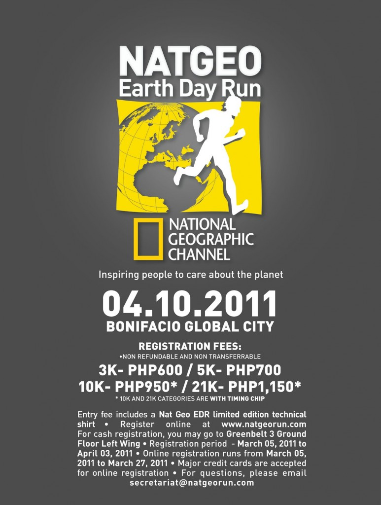 NATGEO Earth Day Run 2011 Race Map ang Shirt