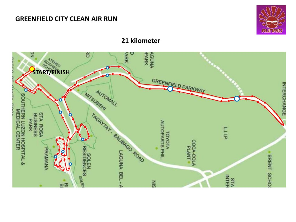 GREENFIELD CITY CLEAN AIR RUN 21K Map