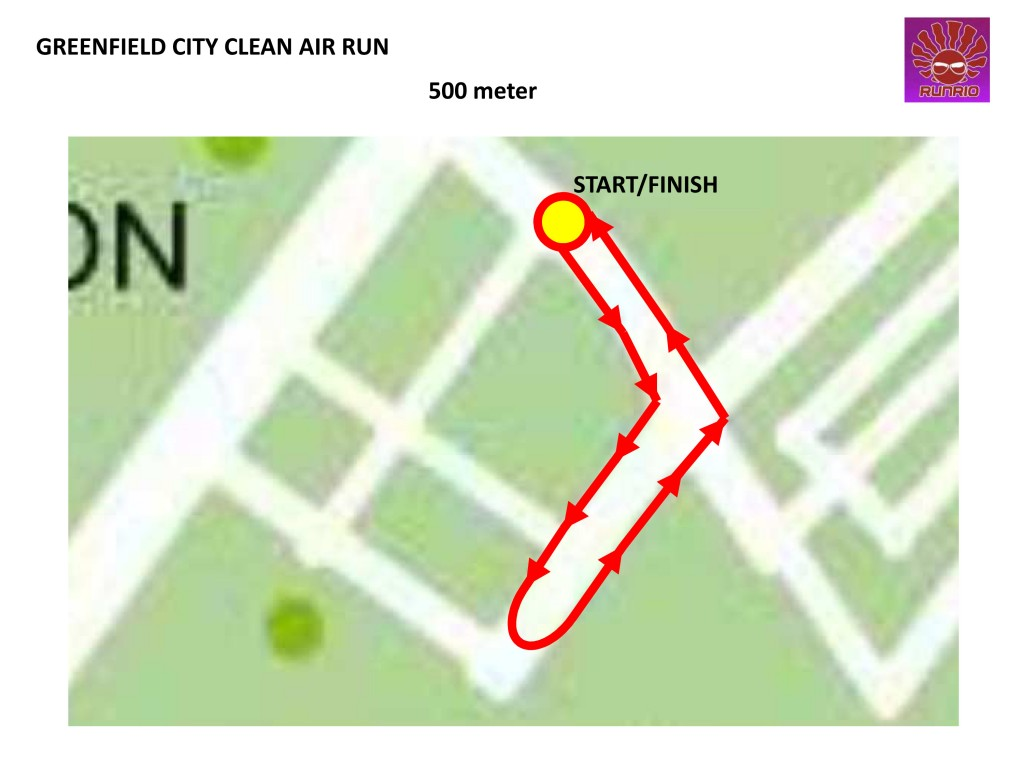 GREENFIELD CITY CLEAN AIR RUN 500M Map
