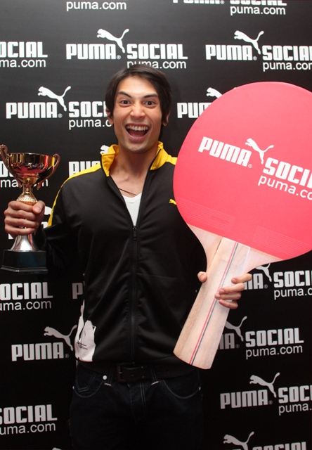 puma social - Luke Jickain wearing a T7 Track Jacket hamming it up
