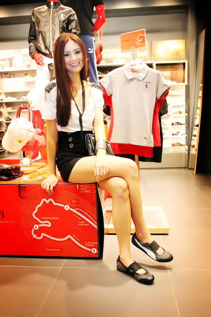 puma social - Sam Pinto wearing a pair of Puma Sneakerina flats with her stylish padded top and high waist shorts