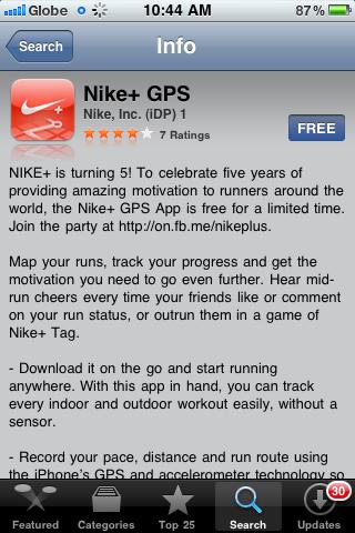 nike+ GPS Iphone APP Free