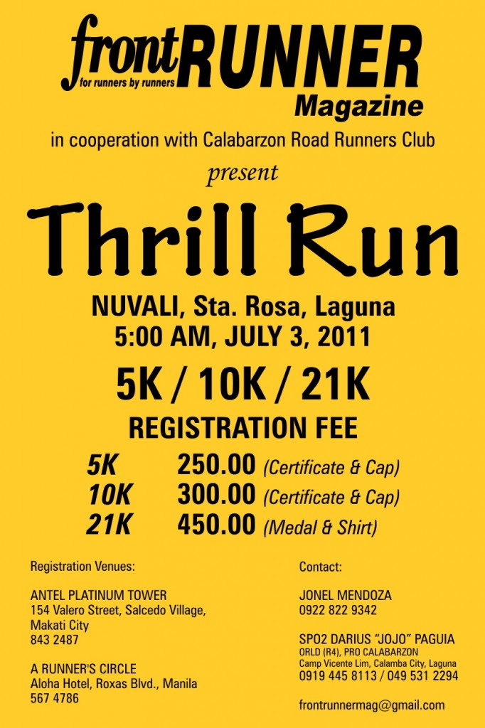 front RUNNER MAGAZINE Thrill Run 2011