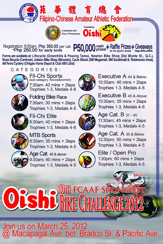 Oishi Springfest Bike Challenge 2012 poster