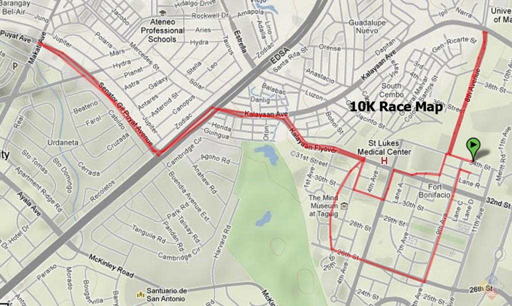natgeo earth day run 2012 - 10k map