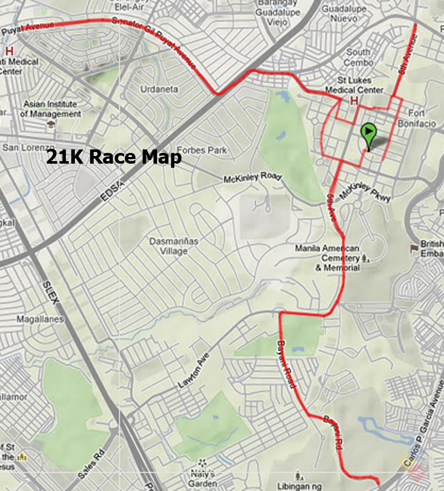 natgeo earth day run 2012 - 21k map