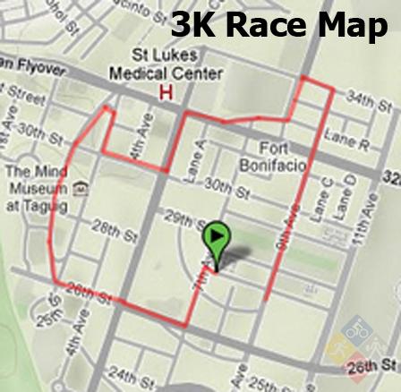 natgeo earth day run 2012 - 3k map