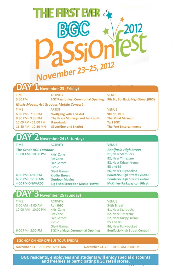 BGC PAssionfest 2012 Schedule (FINAL)