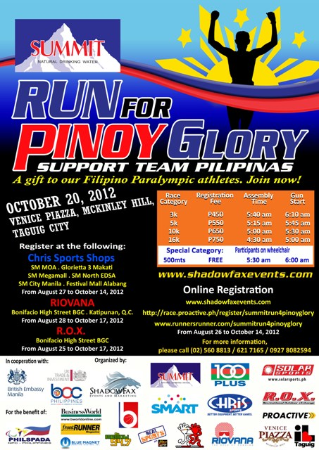 Summit Run for Pinoy Glory 2012 race results and photos