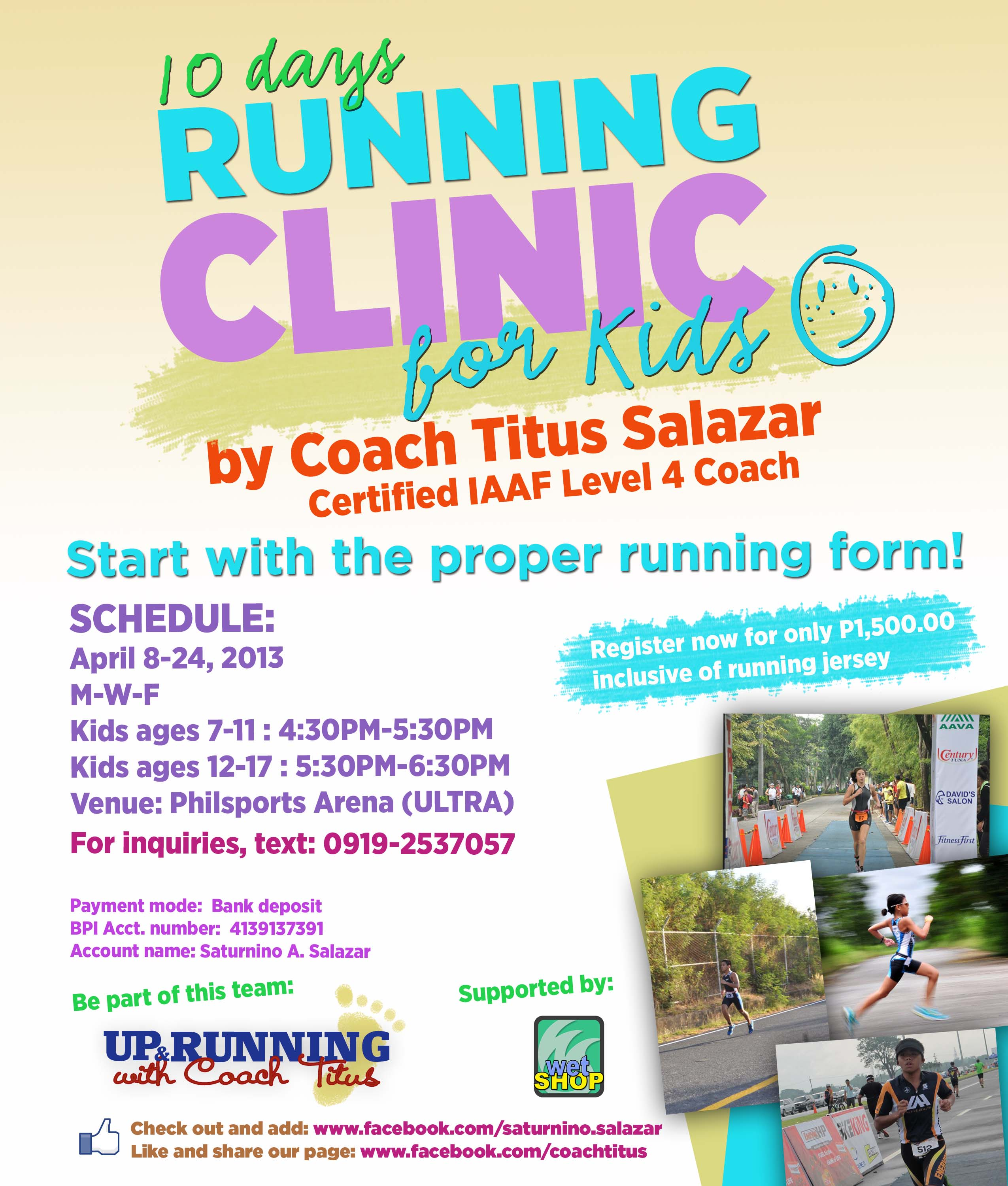 10 Days Running Clinics For Kids 2013 Poster