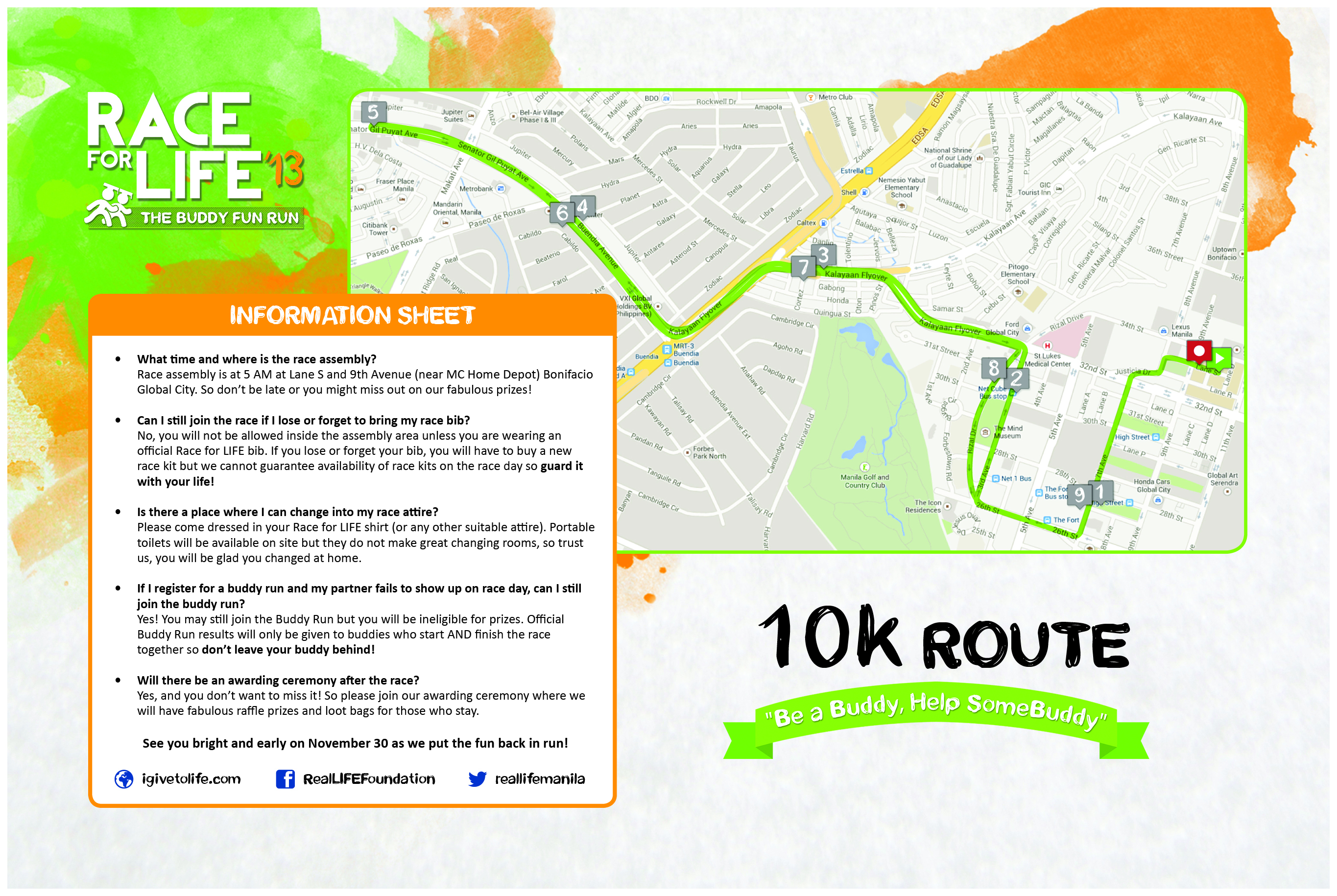 10k Race For Life Map