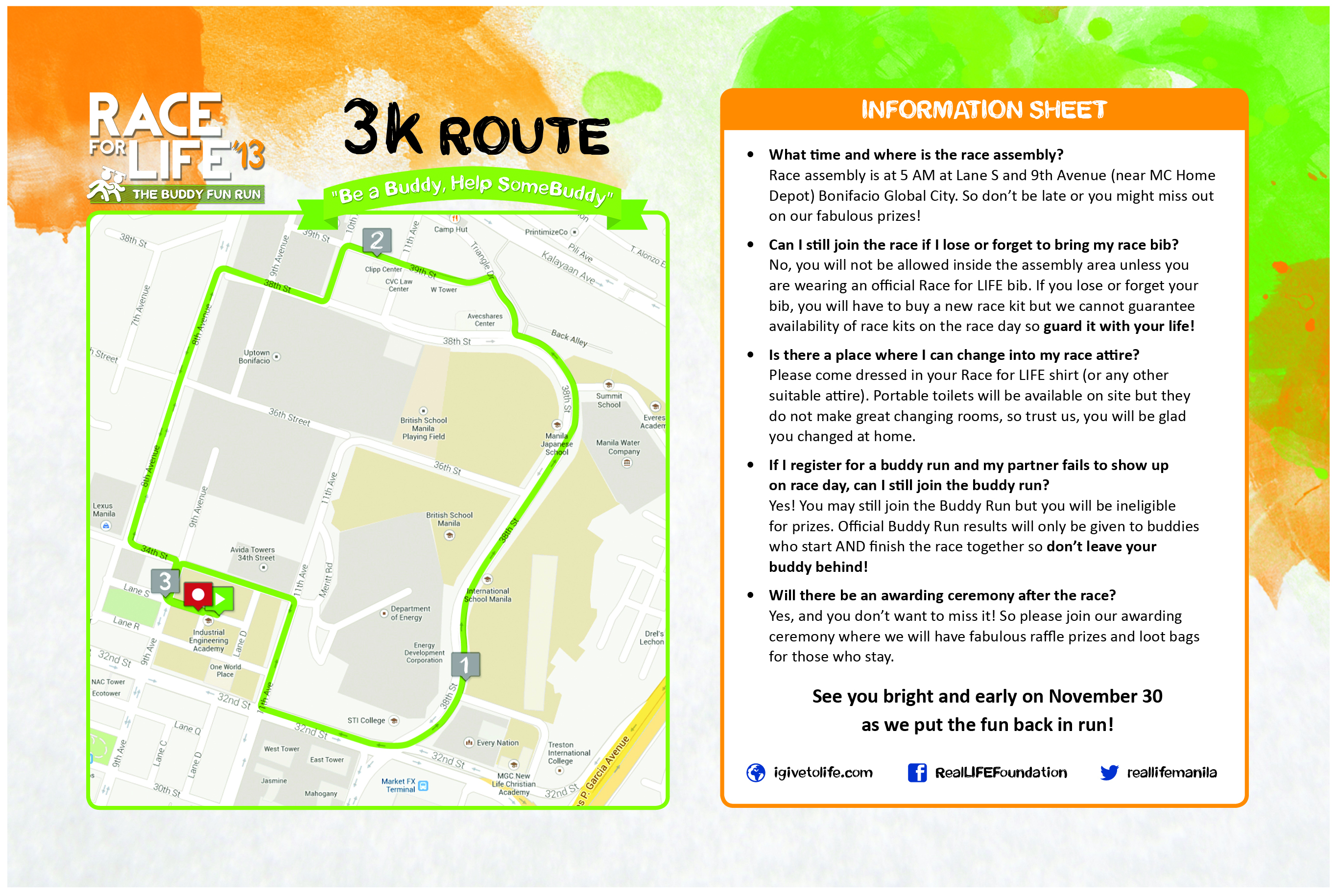 3k Race For Life Map
