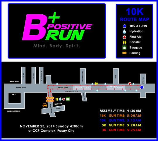 BPOSITIVE 10K RACE MAP