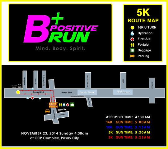 BPOSITIVE 5K RACE MAP
