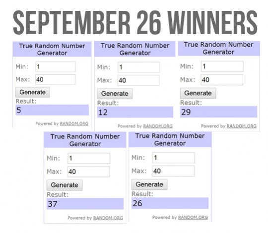 Slidefest September 26 Winners