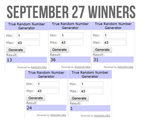 Slidefest September 27 Winners