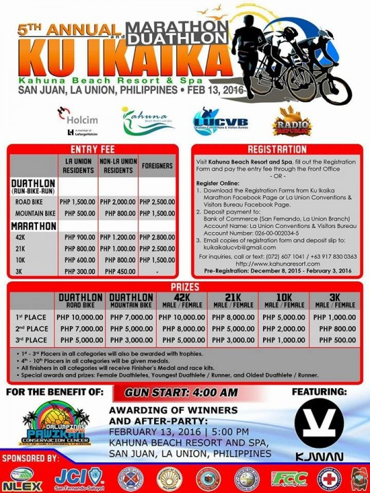 5th Annual Ku Ikaika Marathon Duathlon 2016 poster