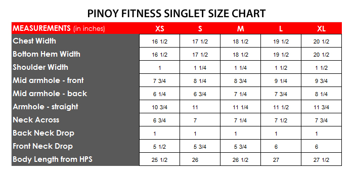 shirt size chart philippines: Pinoy fitness singlet size chart pinoy fitness