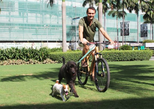 Bambike CEO and Founder Bryan McClelland bikes with Kem and Sombra like eco warriors on a Bamboo Bike 2