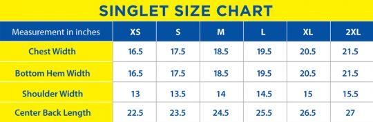 PF SUB 2 2016 Singlet Size Chart
