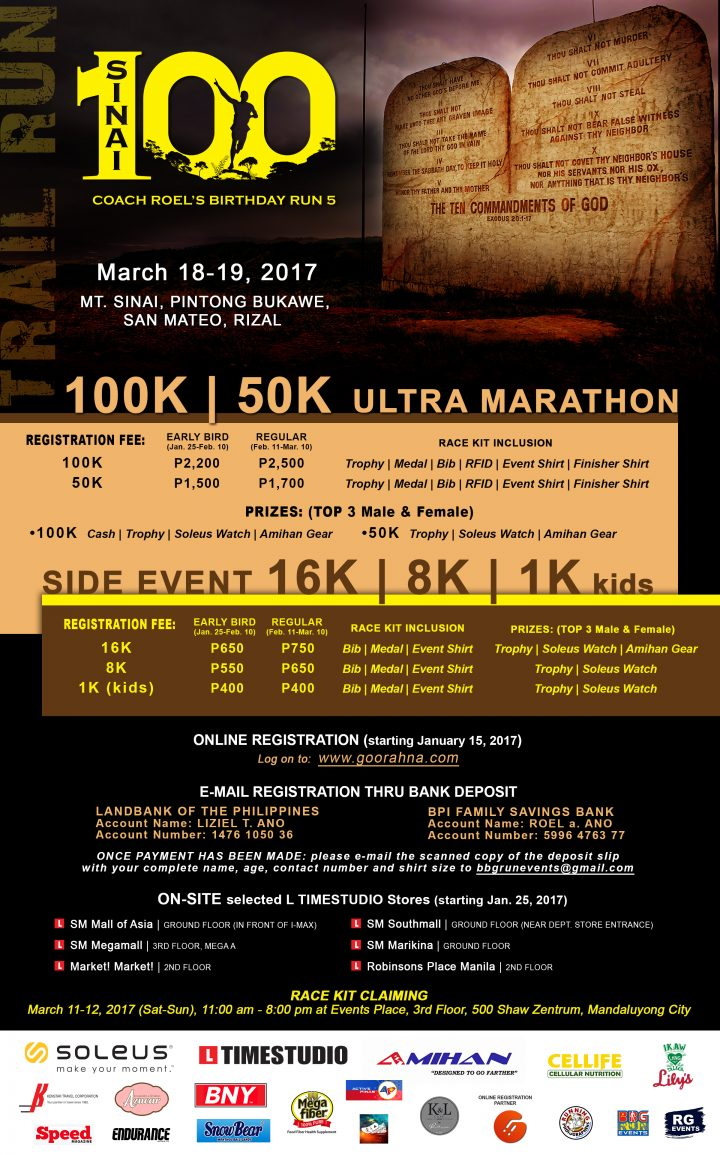 Sinai 100k trail run is happening on march 18 19 2017 in san mateo