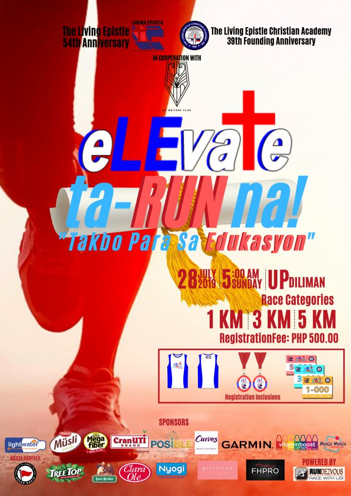 eLEvate Fun Run: Ta-RUN na! Takbo Para sa Edukasyon 2019