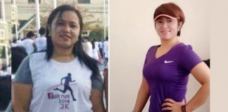 Before and after photos of Ruby Aranas comparing her weight years ago and her recent weight